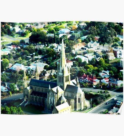 Bendigo Cathedral from the Air Poster