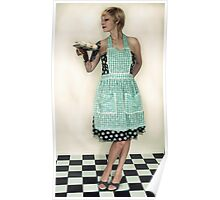 Pin Up Housewife on checkered floor Poster