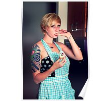 Pin Up Housewife tasting cupcakes Poster