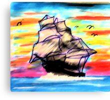Ship at Sea, watercolor Canvas Print