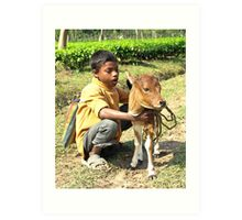 On the road to Manas...a  boy and his calf Art Print