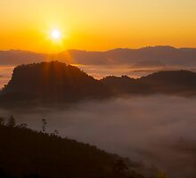 Sunrise over the Thai-Myanmar border by John Spies