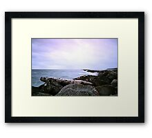 Half Moon Bay - Lone Log Framed Print