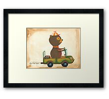 Alfred in his jeep Framed Print