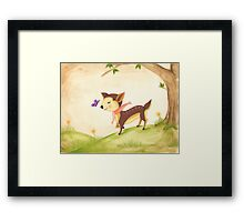 frolicking fawn Framed Print