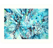 Water Crystals - Abstract Geometric Watercolor Painting Art Print