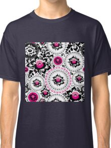 Vintage shabby Chic pattern with Pink and Black flowers  Classic T-Shirt