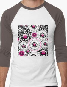 Vintage shabby Chic pattern with Pink and Black flowers  Men's Baseball ¾ T-Shirt