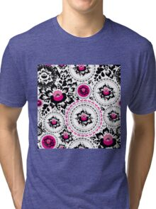 Vintage shabby Chic pattern with Pink and Black flowers  Tri-blend T-Shirt