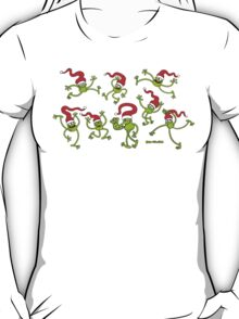 Christmas Frogs jumping, dancing and celebrating! T-Shirt