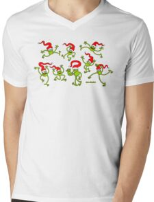 Christmas Frogs jumping, dancing and celebrating! Mens V-Neck T-Shirt