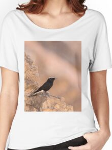 white-crowned wheatear, or white-crowned black wheatear  Women's Relaxed Fit T-Shirt