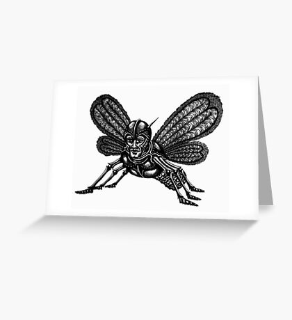 Mothman surreal black and white pen ink drawing Greeting Card