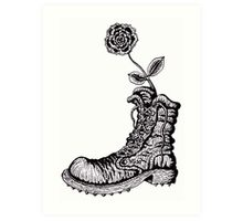 Boot with Flower black and white pen ink drawing Art Print