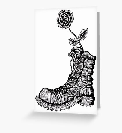 Boot with Flower black and white pen ink drawing Greeting Card