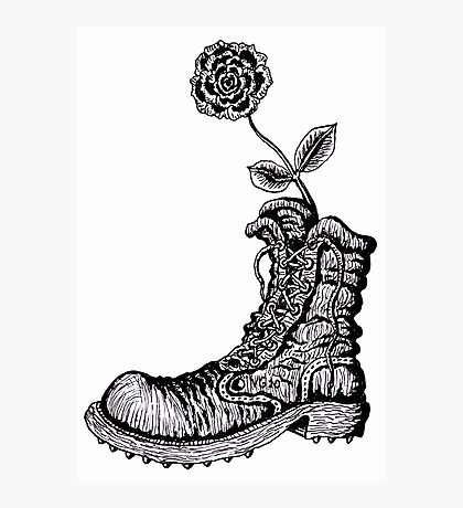 Boot with Flower black and white pen ink drawing Photographic Print