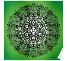 Mandala Drawing 30 GREEN Prints, Cards & Posters Poster