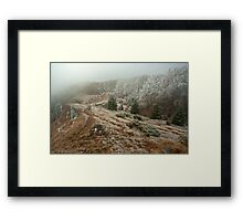 Landscape-a misty day on Cozia Mountains Framed Print