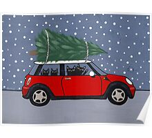 Red Mini Christmas Tree Poster