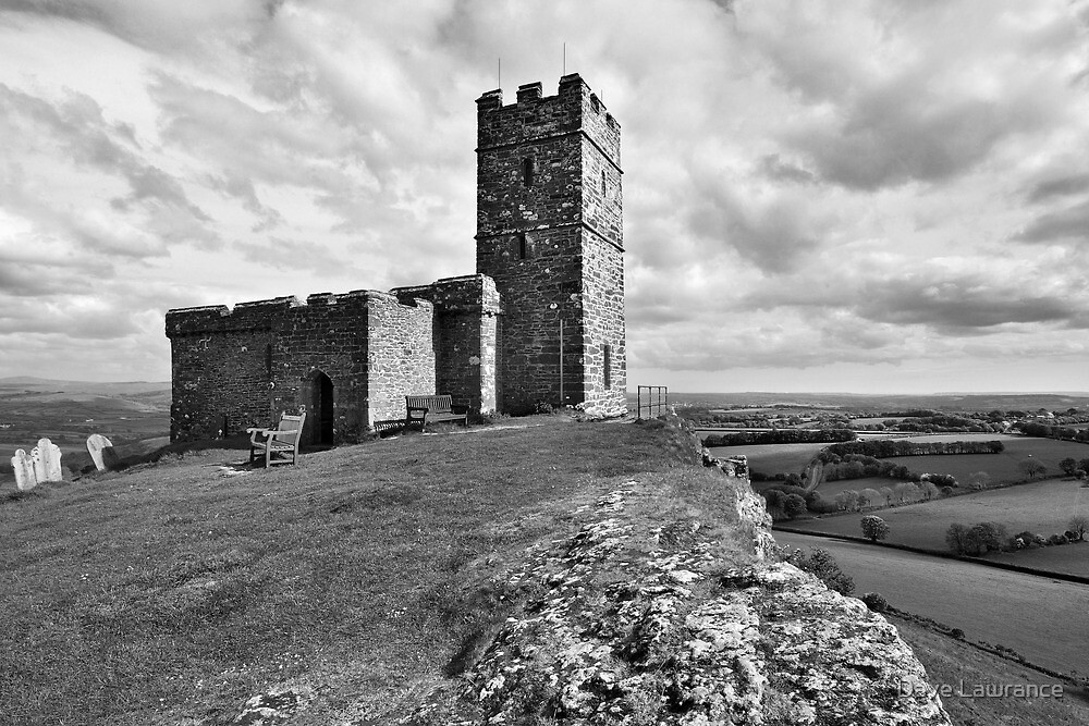 Brentor Church - Devon - mono by Dave Lawrance