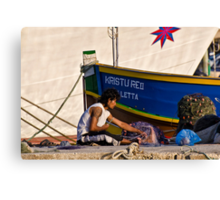 Repairing The Nets Canvas Print