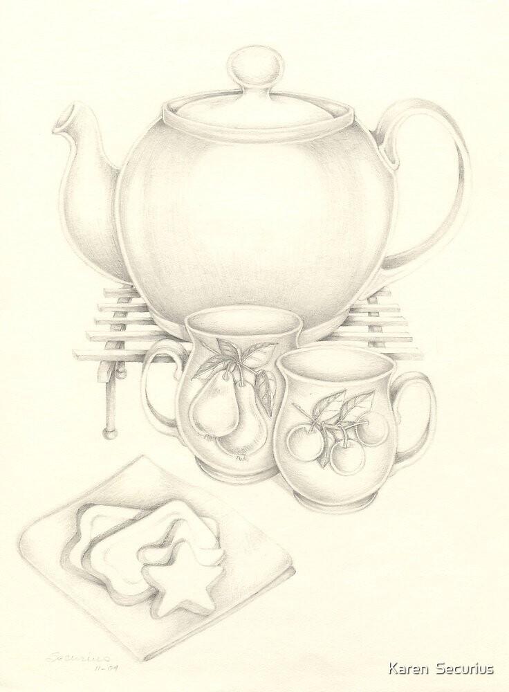 Tea and Cookies by Karen  Securius