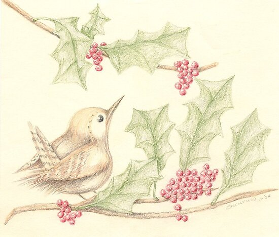 Bird & Holly by Karen  Securius