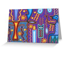 Huichol Art with yarn/Puerto Vallarta, Mexico - Arte Huichol con hilo Greeting Card