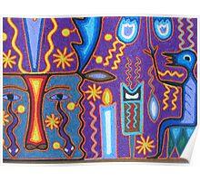 Huichol Art with yarn/Puerto Vallarta, Mexico - Arte Huichol con hilo Poster