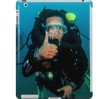 scuba diver demonstrates the sign language for divers. iPad Case/Skin