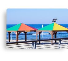 Gay rainbow flag colours on a beach in Tel Aviv, Israel Canvas Print