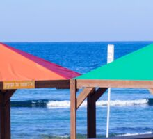Gay rainbow flag colours on a beach in Tel Aviv, Israel Sticker