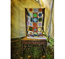 Old quilt and chair Photographic Print