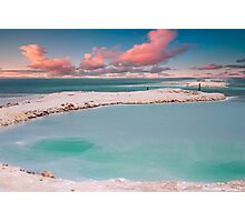 Israel, Dead Sea landscape view Crystallized salt on the shore  Photographic Print