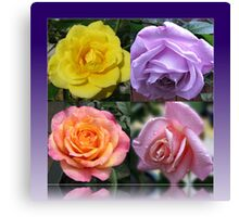 Four Roses Collage Canvas Print
