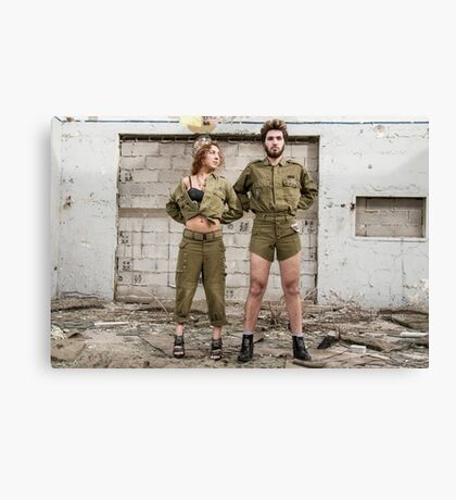 Models in Israeli Army uniform is a deserted location  Canvas Print