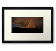 Mountain Silhouette and Rainbow Framed Print