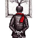 Looking at the Tree surreal black and white pen ink drawing by Vitaliy Gonikman
