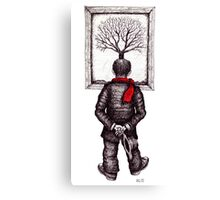 Looking at the Tree surreal black and white pen ink drawing Canvas Print