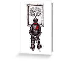 Looking at the Tree surreal black and white pen ink drawing Greeting Card