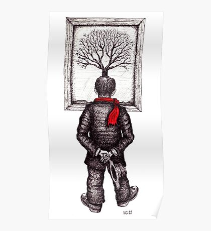 Looking at the Tree surreal black and white pen ink drawing Poster