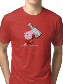 Chicago Blackhawks Fan with Stanley Cup Tri-blend T-Shirt