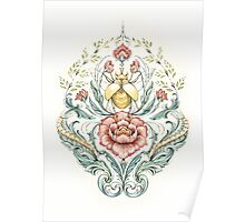Antique pattern - Beetle and centipedes Poster