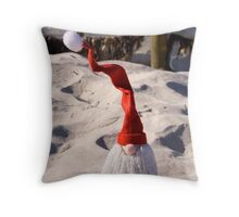 Santa with a curly hat Christmas Card Throw Pillow