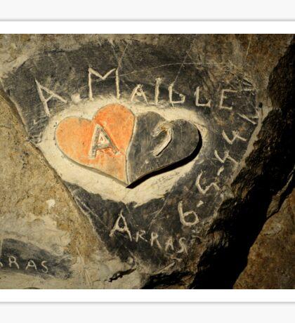 ww2 grafitti hearts underground Sticker