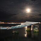 Ayvalik moonshine over jetty by Christine Oakley
