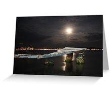 Ayvalik moonshine over jetty Greeting Card