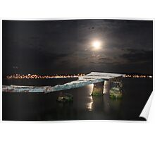 Ayvalik moonshine over jetty Poster
