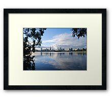 Melbourne Cityscape from Albert Park Lake, Victoria Framed Print