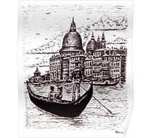 Venice Italy black and white pen ink drawing Poster